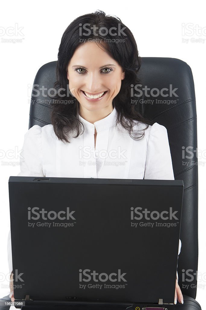 smiling young woman with a laptop on high chair royalty-free stock photo