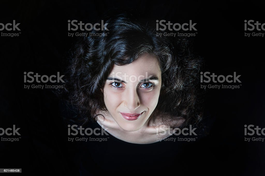 Smiling Young Women Portrait on Black stock photo