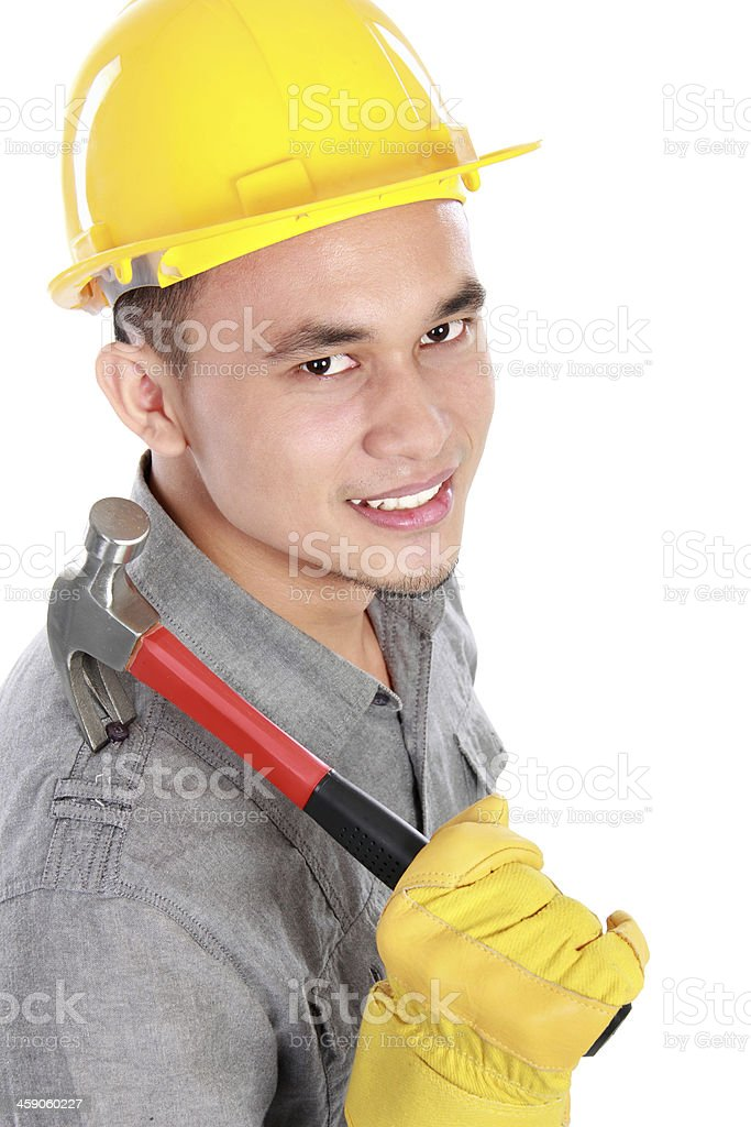 smiling young worker royalty-free stock photo