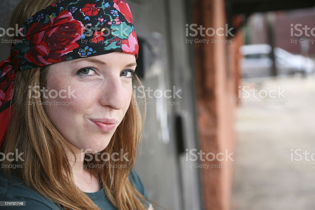 Smirky Young Woman with Bandana royalty-free stock photo
