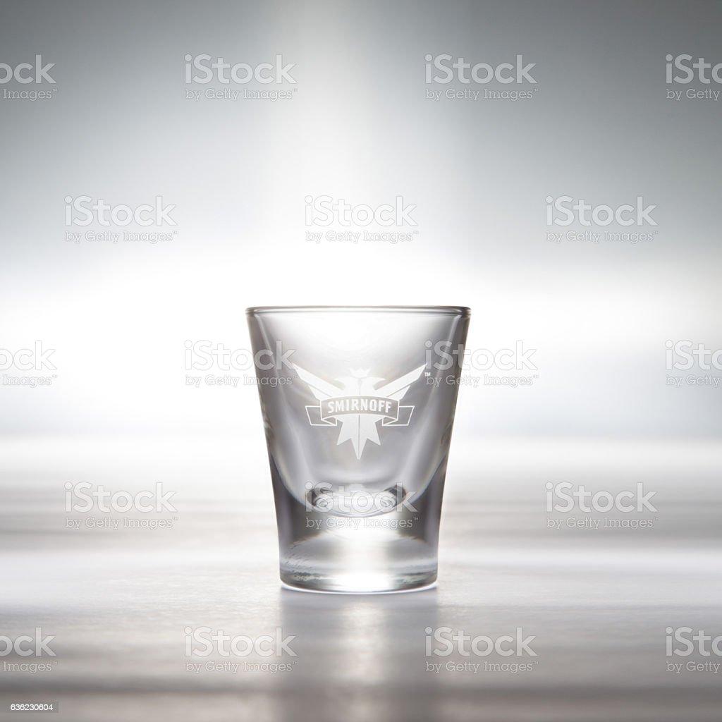 Smirnoff Vodka Shot Glass stock photo
