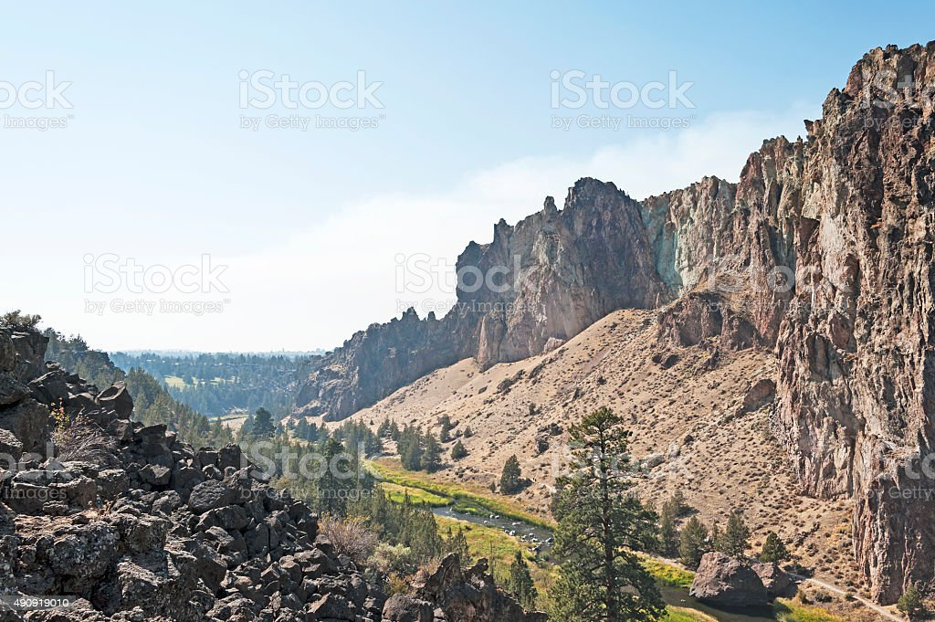 Smith Rock in Central Oregon with Crooked River Below stock photo