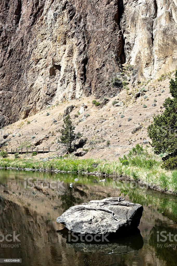 Smith Rock River Rock stock photo