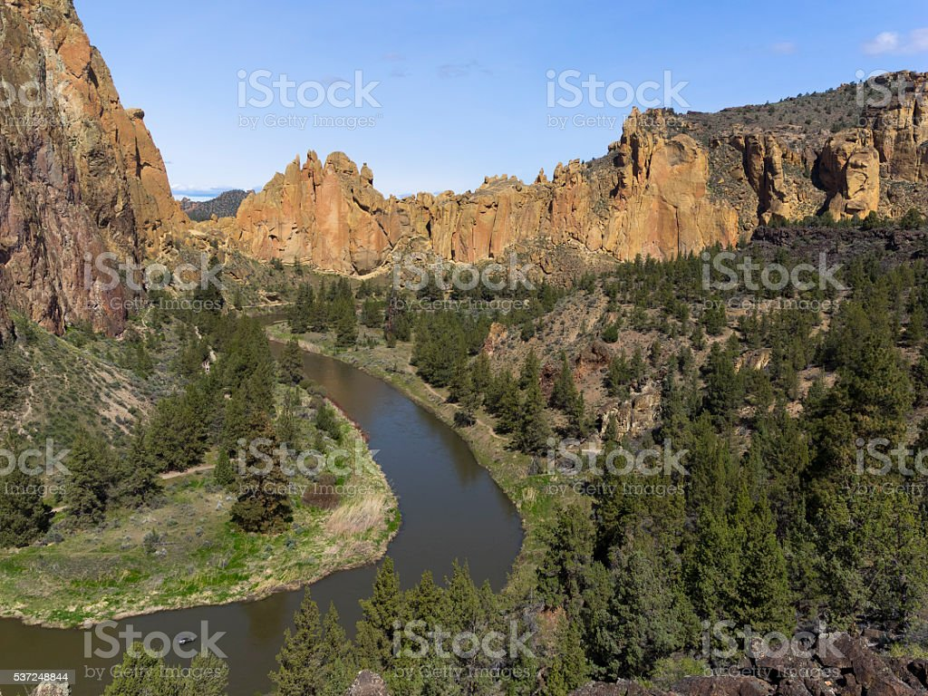 Smith Rock State Park in Oregon and the Crooked River stock photo