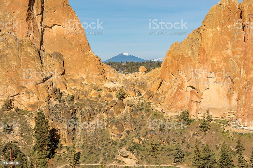 Smith Rock State Park Oregon with Black Butte Mountain Background stock photo