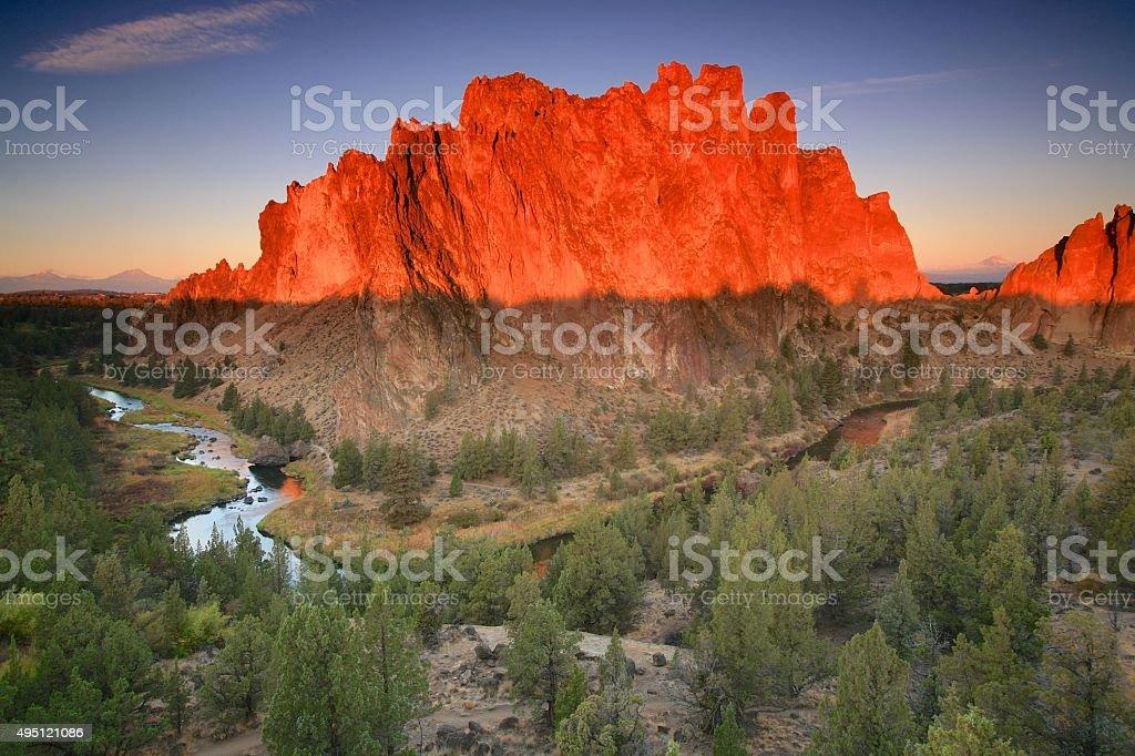 Smith Rock Sunrise stock photo