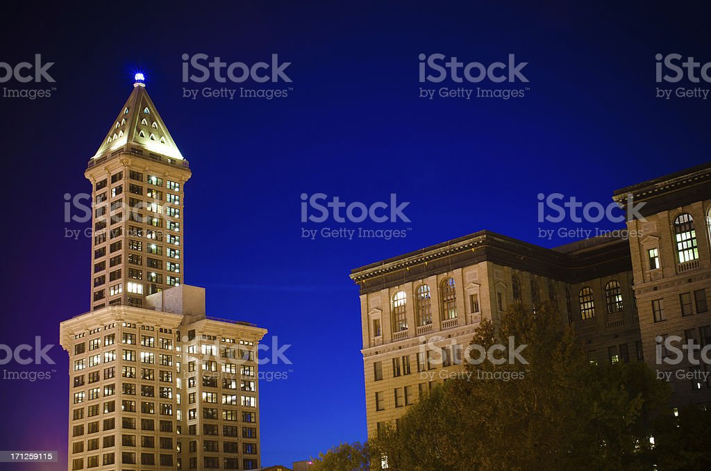 Smith Tower and King County District Court, Seattle, WA stock photo