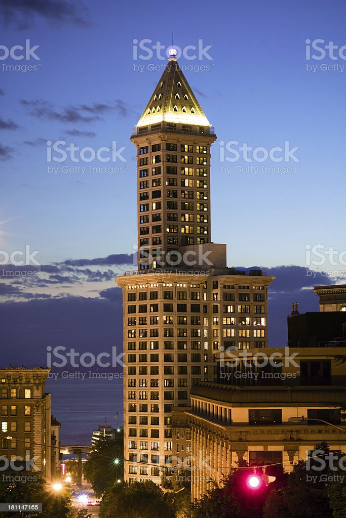 Smith Tower in Seattle, WA at night stock photo