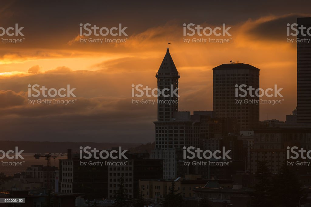 Smith Tower Sunset stock photo