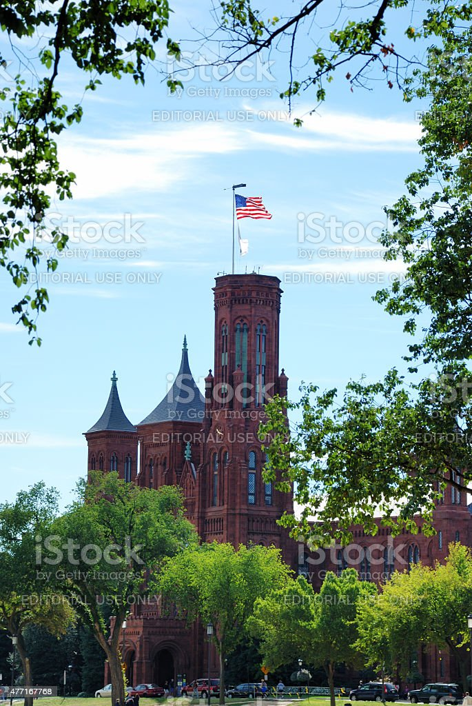 Smithsonian Institution Building (The Castle) on the Mall in Washington stock photo