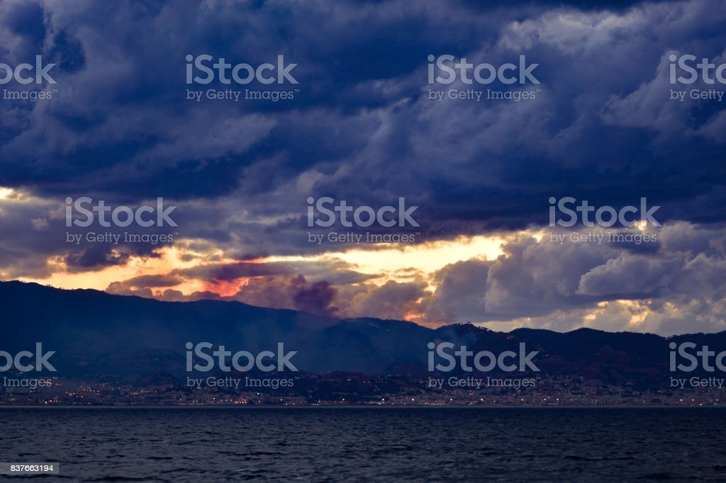 Smog and fire in background. stock photo