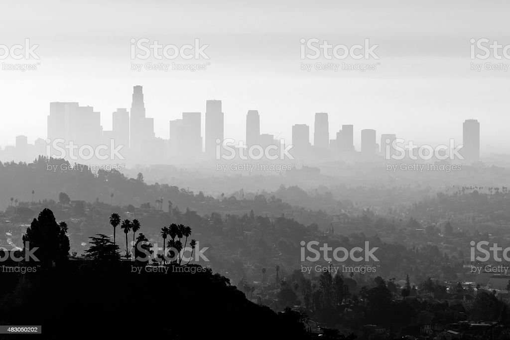 LA Smog and Fog Black and White stock photo