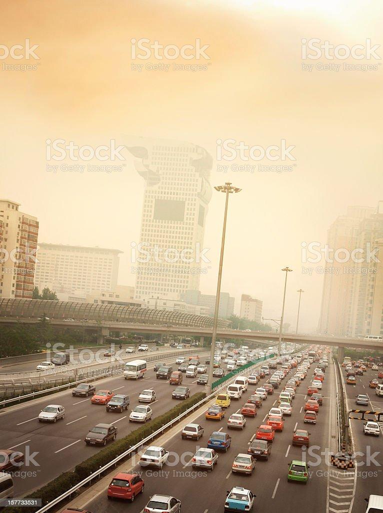 Smog and Traffic Jam in Beijing stock photo