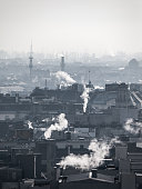 Smog - city air pollution. Unclear atmosphere polluted by smoke