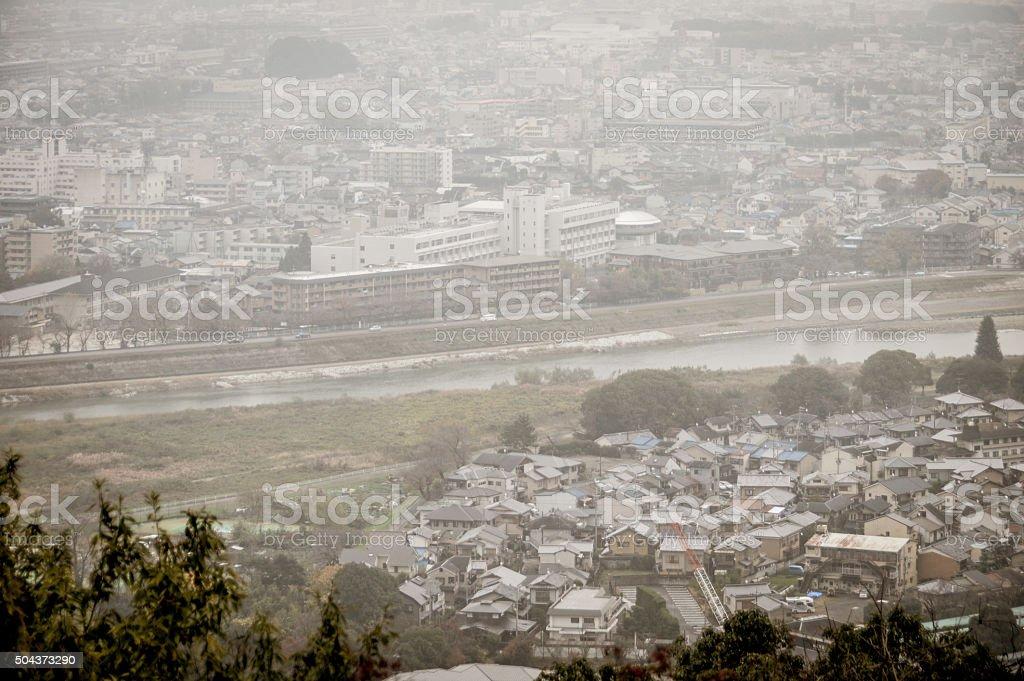 Smog in Asian city stock photo