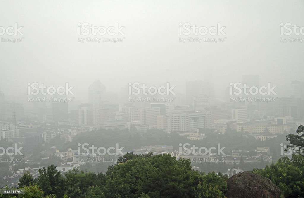 smog in chinese city Hangzhou stock photo
