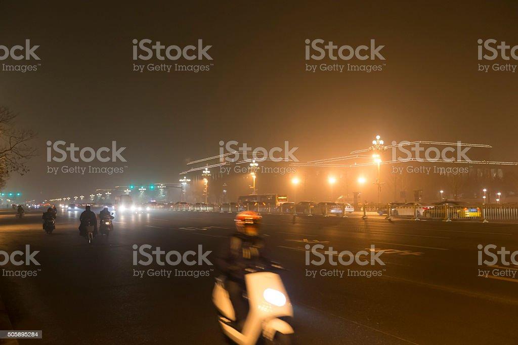 Smog night at Changan Street near Tiananmen Square, Beijing stock photo