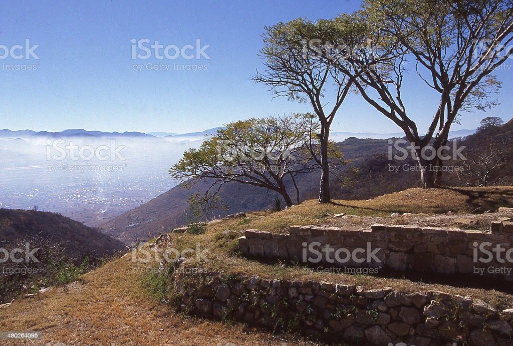 smog over city Oaxaca Mexico Monte Alban Zapotec Ruins stock photo