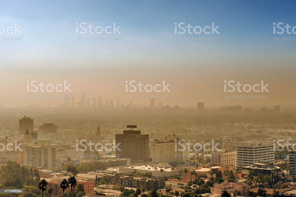 Smog over Los Angeles at sunset stock photo