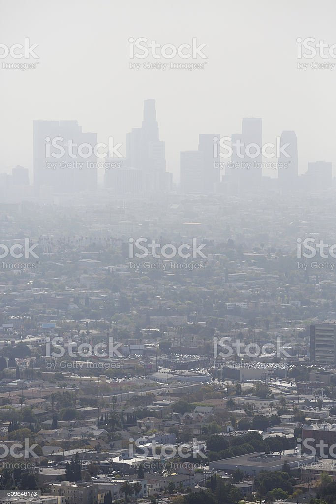 Smoggy aerial view  to downtown Los Angeles. stock photo