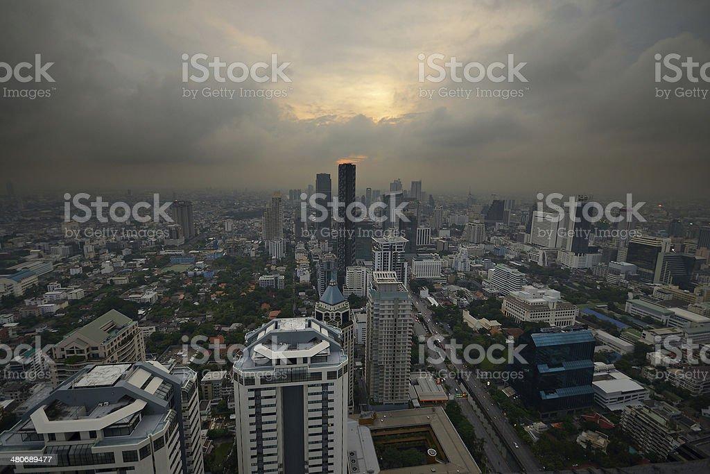 Smoggy Bangkok cityscape royalty-free stock photo