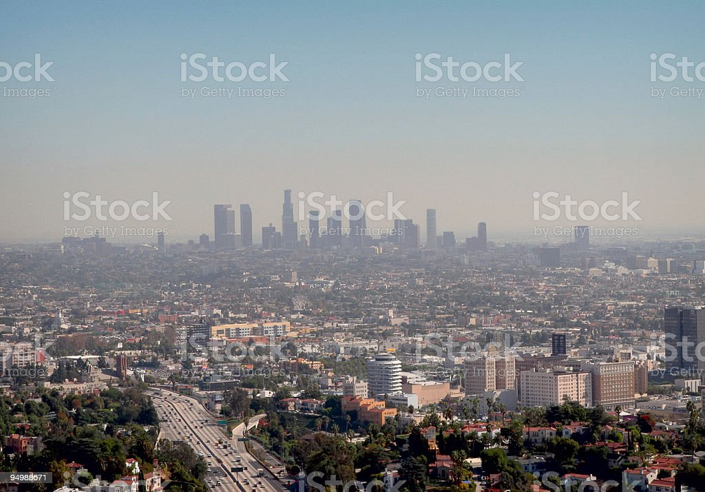 Smoggy day in Los Angeles stock photo