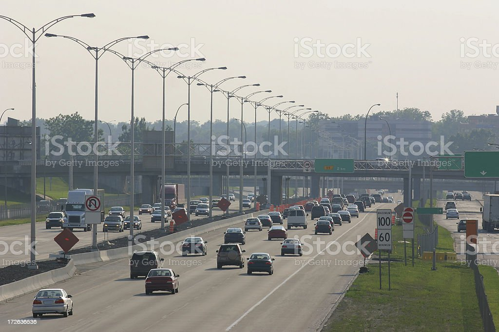 Smoggy day on the highway royalty-free stock photo