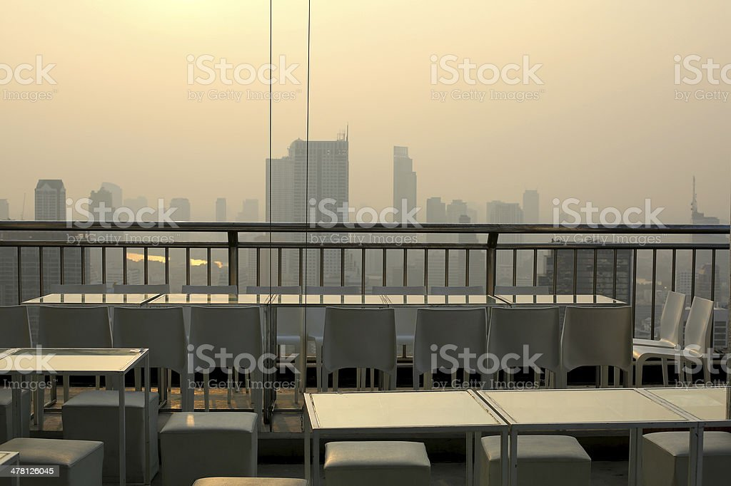 Smoggy sky bar view at dawn stock photo