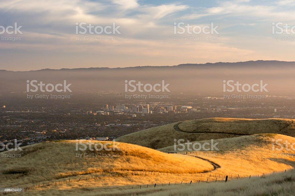 Smoggy sunset over San Jose stock photo