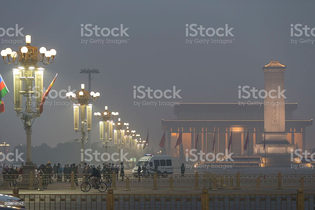 Smoggy View of Tiananmen Square in Beijing stock photo