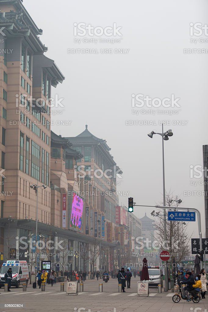 Smoggy View of Wanfujing Street in Beijing stock photo