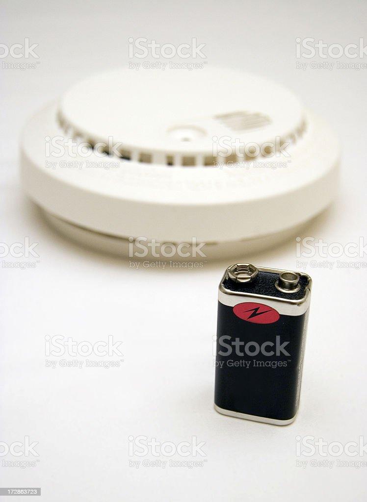 Smoke alarm battery replacement stock photo
