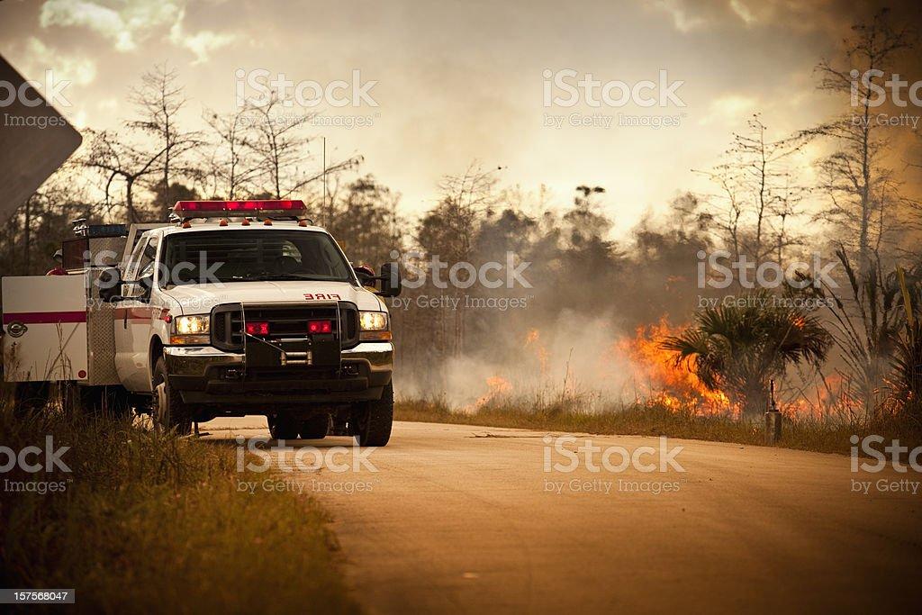 Smoke and wilderness emergency truck royalty-free stock photo