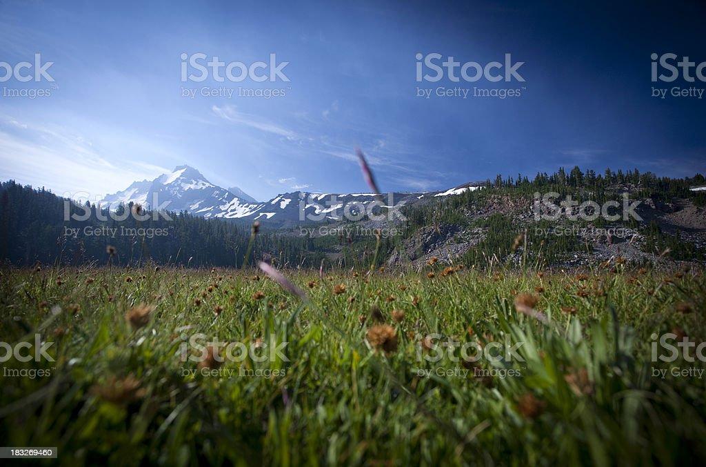 Smoke around Broken Top, Three Sisters Wilderness stock photo
