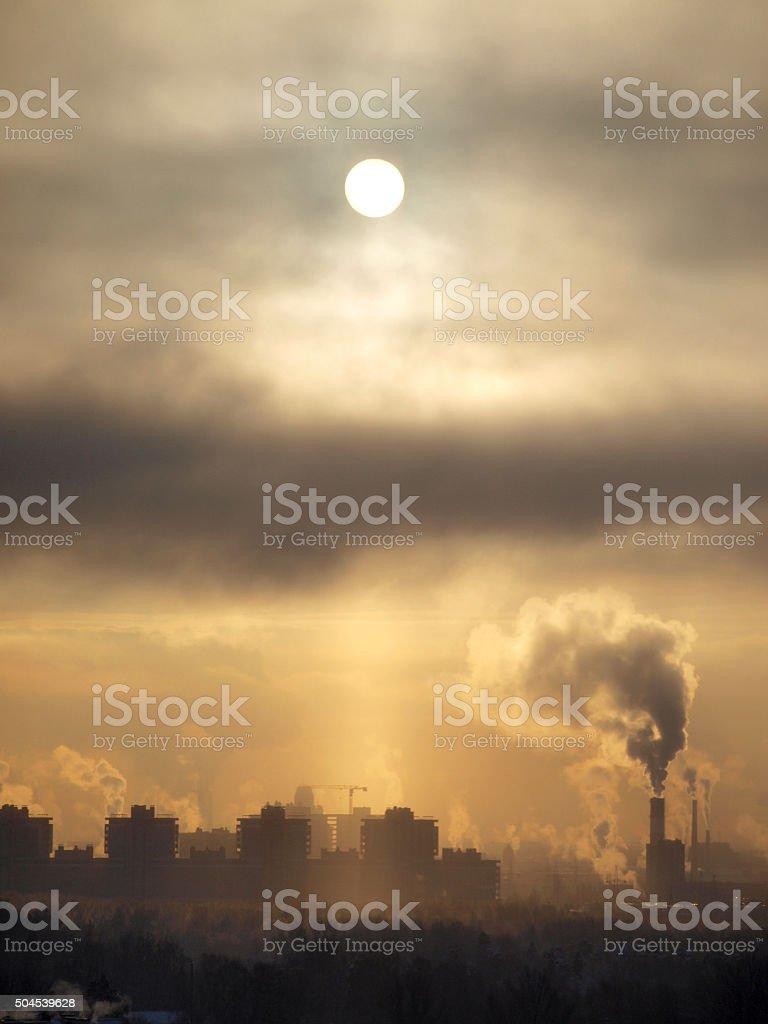 Smoke city stock photo