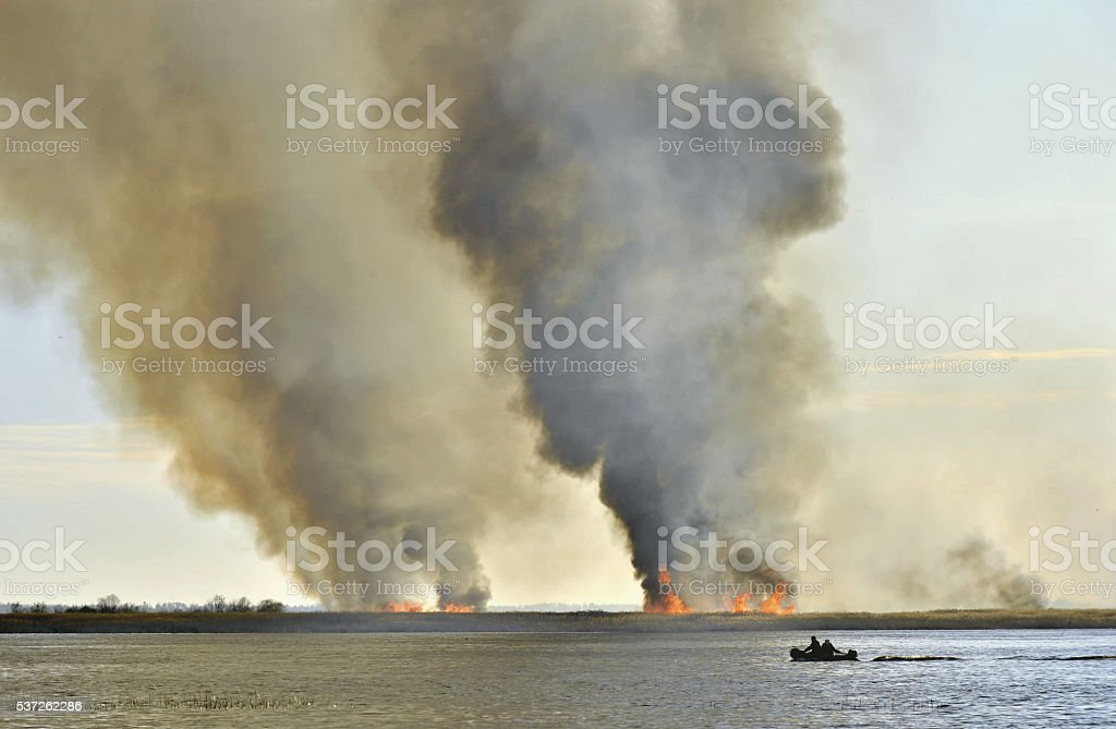 Smoke cloud from the large fire. stock photo