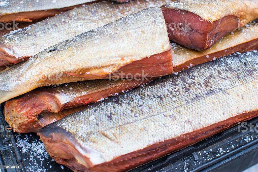 Smoke Cured Keta Salmon Fish stock photo