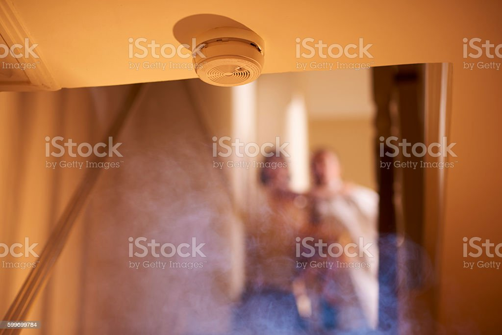 Smoke detection warning stock photo