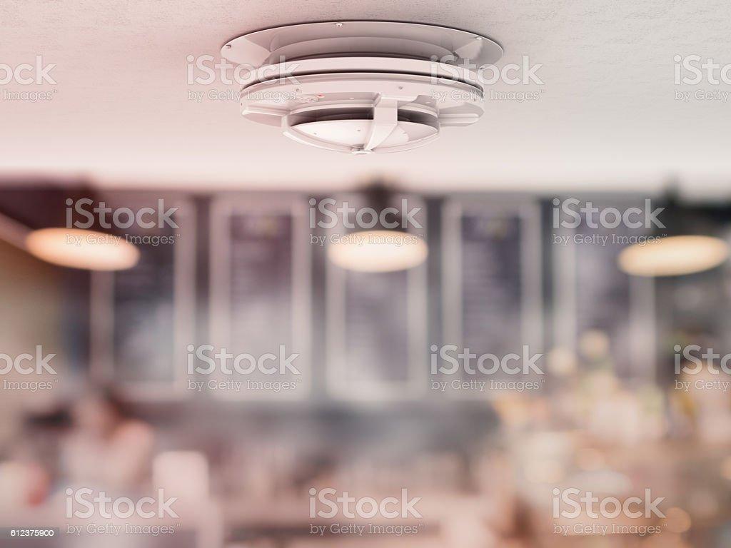 smoke detector on ceiling stock photo