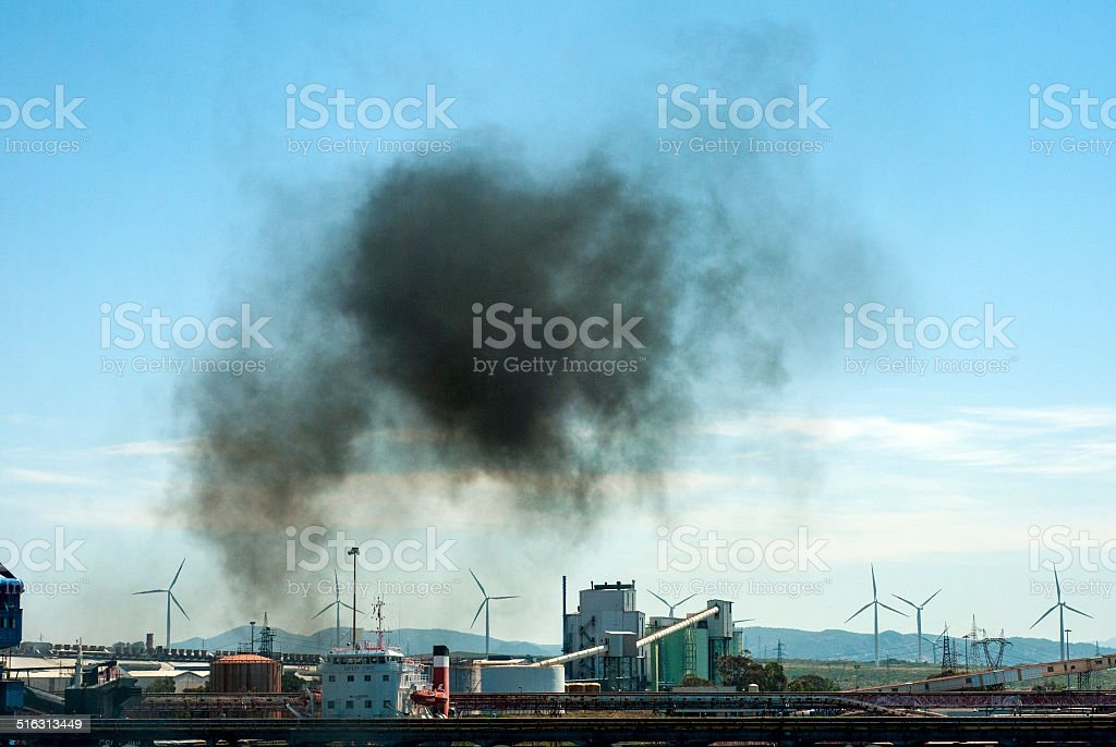 smoke emission, air pollution, industrial landscape stock photo