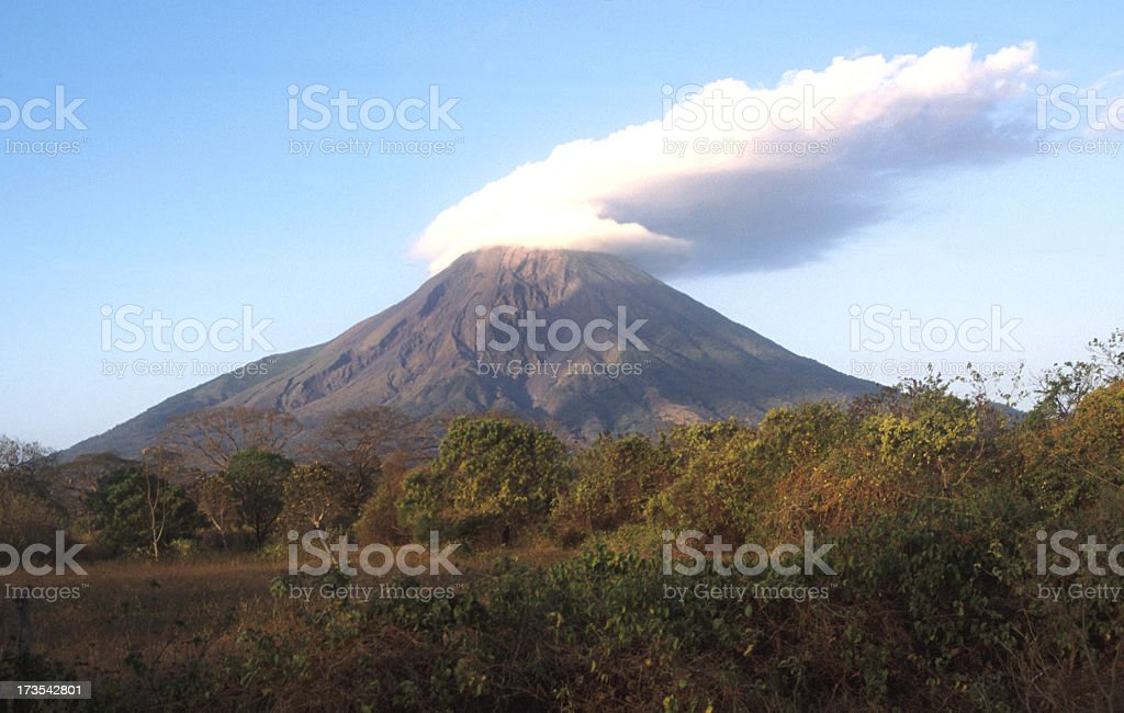 Smoke erupting from large volcano Concepcion stock photo