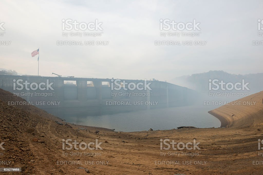 Smoke from forest fires at Fontana Dam, North Carolina stock photo