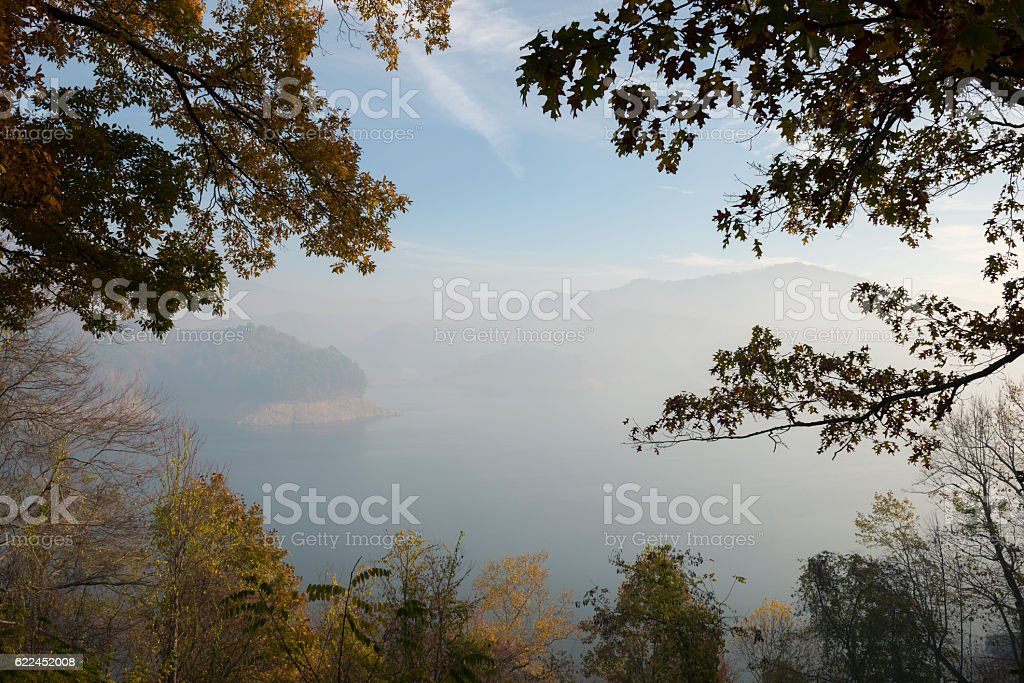Smoke from forest fires at Fontana Lake in North Carolina stock photo