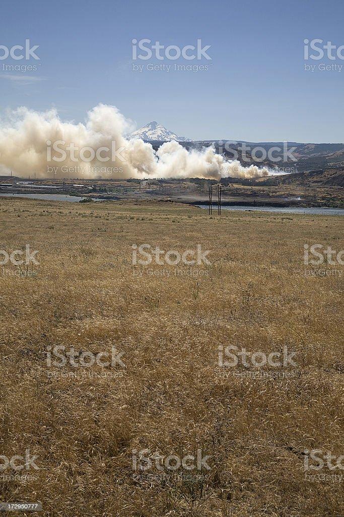 Smoke from Grass Fire. stock photo