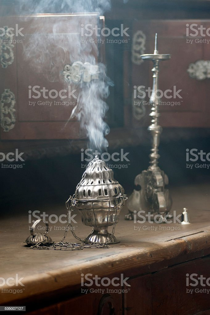 smoke from incense stock photo
