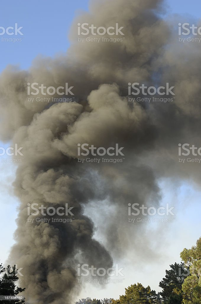 Smoke From Out of Control Wildfire stock photo