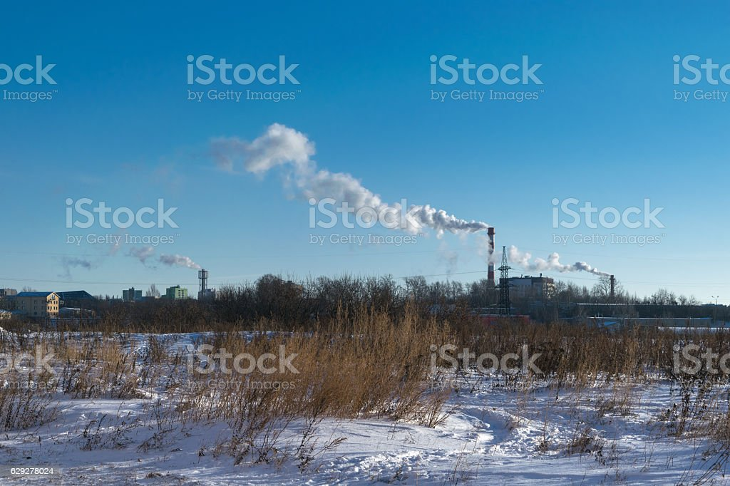 Smoke from pipe of thermal power plants stock photo