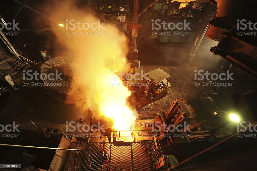 Smoke in steel mill royalty-free stock photo