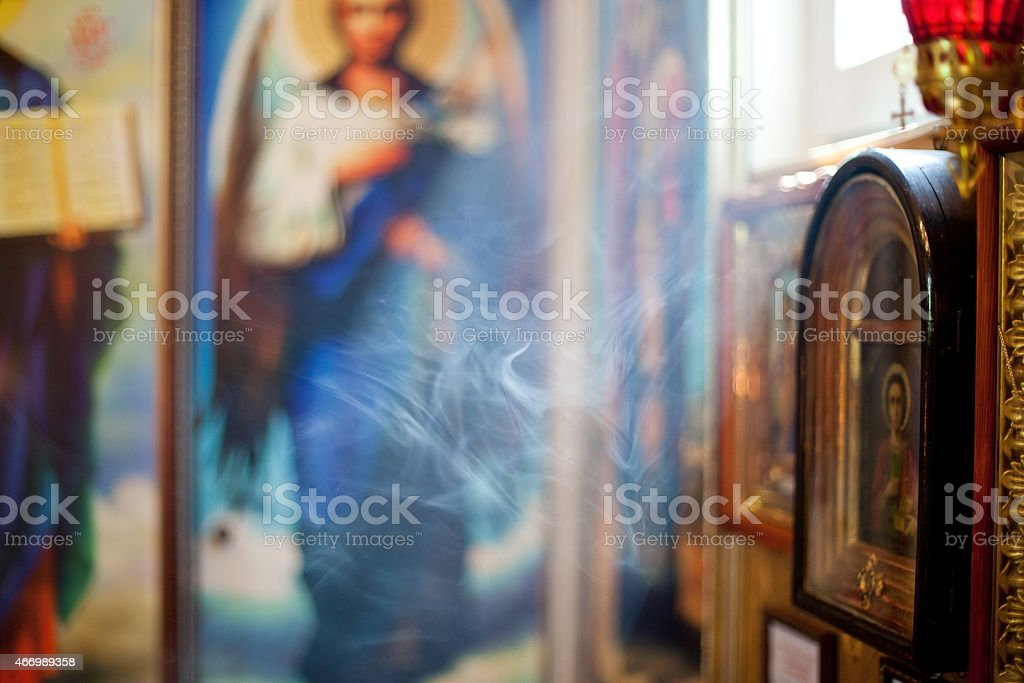Smoke in the church. Background stock photo