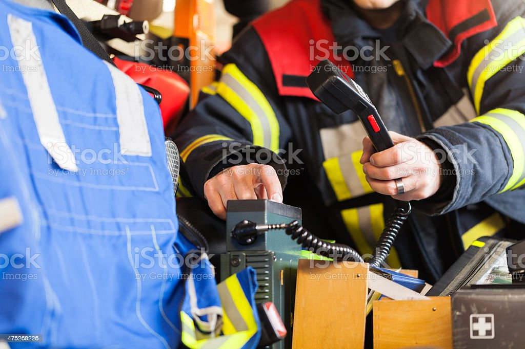 Smoke Jumper sparks in a Fire vehicle stock photo